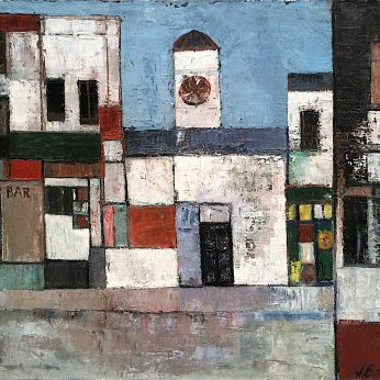 'Bar and Clock Tower'. Oil on Canvas. 65cm x 80cm. Signed. POA