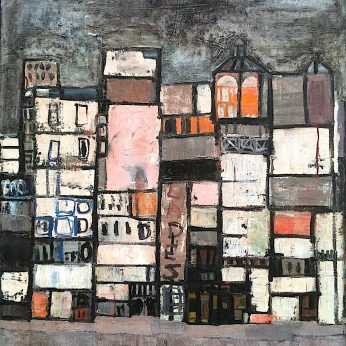 'Buildings' . Oil on Canvas. 80cm x 69cm. Signed. POA