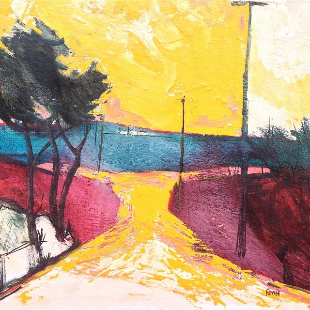 'Yellow Sky'. Oil on Board. 40cm x 51cm. POA