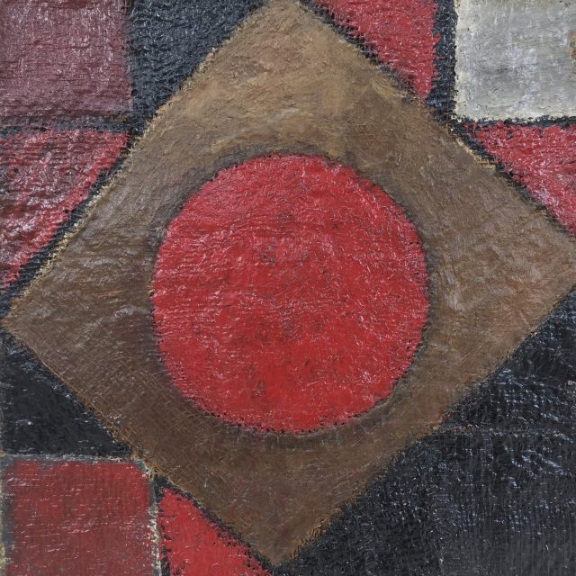 'Abstract Composition' (1959). 52cm x 49cm. Oil on Sackcloth on Board. POA
