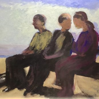 'Three Figures on a Bench' (2014). Oil on Board. 71cm x 90cm. SOLD