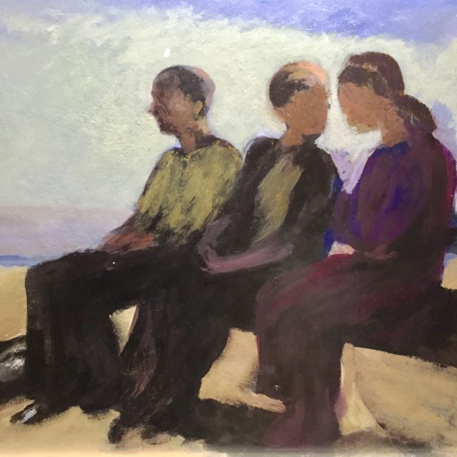 'Three Figures on a Bench' (2014). Oil on Board. 71cm x 90cm. POA