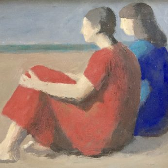 'Seated Figures on Beach' (2005). Oil on Board. 28cm x 36cm. Signed verso. Please Enquire.