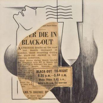'Blackout'. Pencil and Collage. 15cm x 15cm. POA