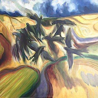 'Early Evening Swallows' by Peter Campbell. 105cm x 120cm. Oil on Canvas. POA