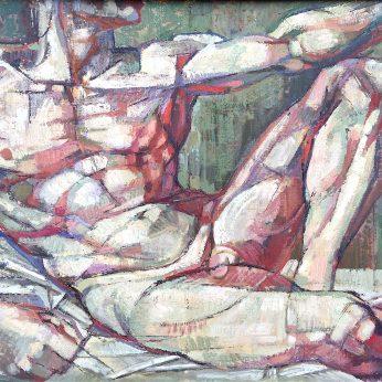 'Nude Male' (After Michelangelo). Oil on Board. 51cm x 61cm. POA