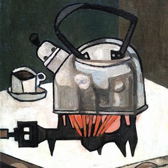 'Kettle on Stove'. Oil on Canvas on Board. 76cm x 51cm. Signed. POA
