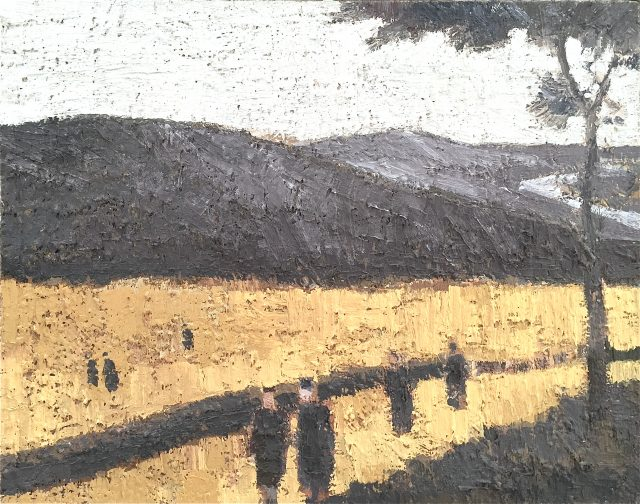 'Tree and Figures in a Hilly Landscape'. 41cm x 52cm. Oil on Canvas. SOLD