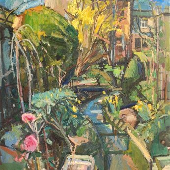 'Garden with Camellia' (1979). Oil on Board. 122cm x 92cm. POA