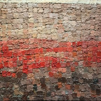 'Red Roofs, Grey Light'. Oil on Board. 36cm x 52cm. POA