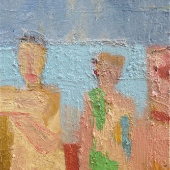 'Figures by the Sea II' (2015). Oil on Board. 31cm x 26cm. POA