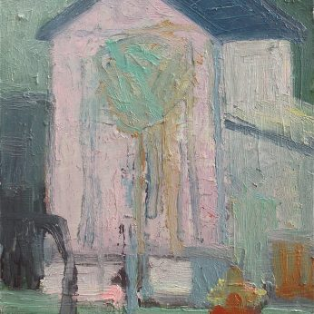 'The Pink Shed' (2011). Oil on Board. 25cm x 22cm. POA