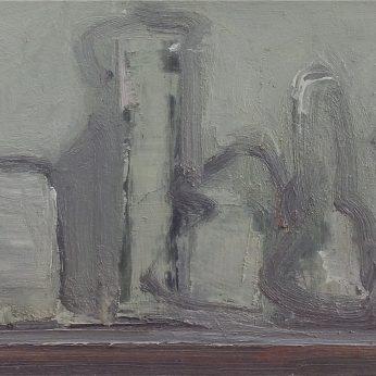 'Still Life in Grey' (2012). Oil on Board. 27cm x 57cm. POA
