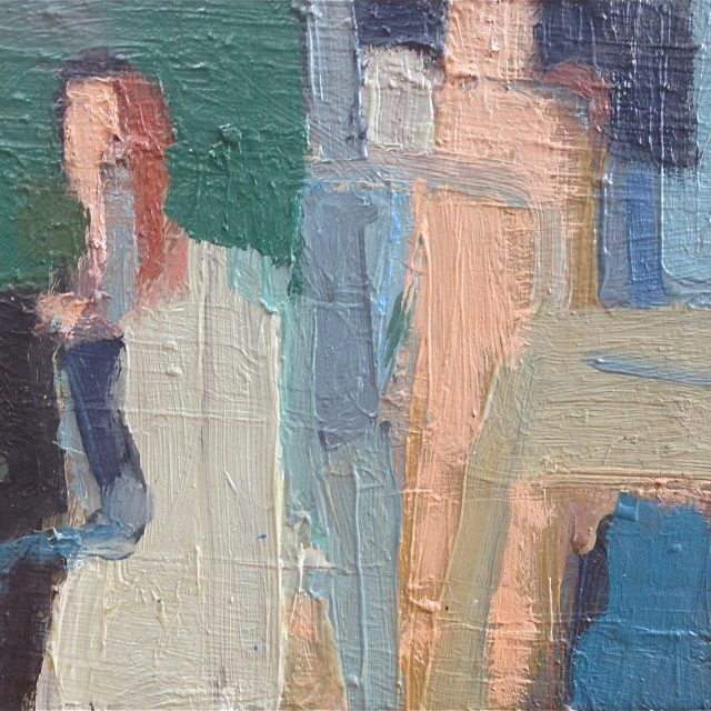'Figures at the Pool' (2012). Oil on Canvas. 20cm x 26cm. POA