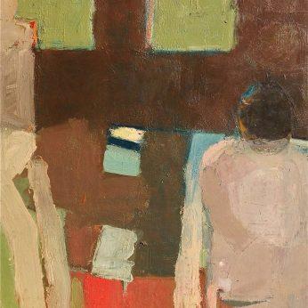 'Two Figures Bathing' (1984). Oil on Board. 92cm x 89cm. POA