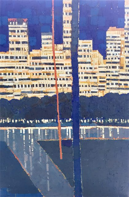 'Central Park - Evening Light'. Oil on Board. 183cm x 122cm. SOLD