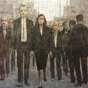 'Life in the City'. 183cm x 183cm. Oil on Board. SOLD