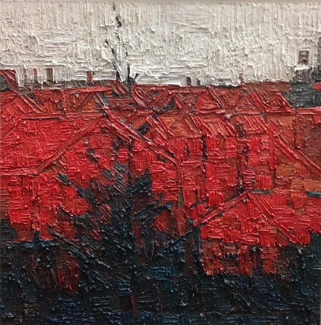 'Red Cityscape with Tree'. Oil on Board. 66cm x 66cm. SOLD