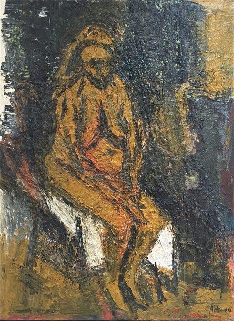 'Nude Sitting'. Oil on Canvas. 123cm x 92cm. POA
