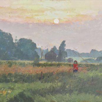 'Sunset in Suffolk'. Oil on Board. 40cm x 50cm. POA