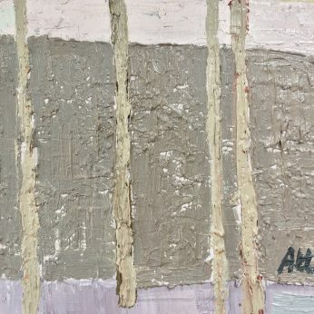 'Four Pale Trees on a Grey Ground' (2012). Oil on Board. 15cm x 20cm.POA