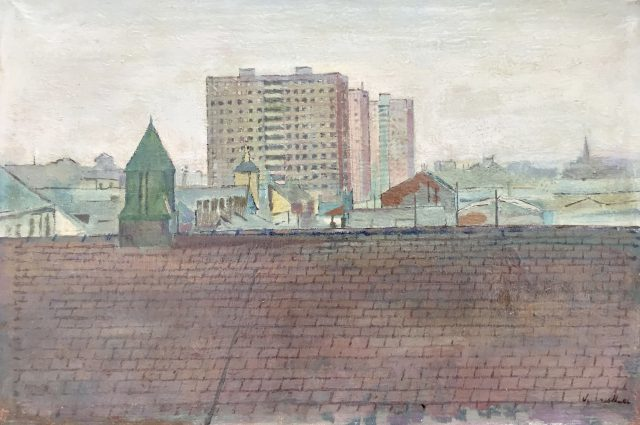 'The New Flats'. Oil on Board. 18 cm x 28 cm. SOLD