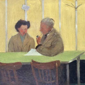 'A Quiet Conversation'. 18cm x 30.5cm. Oil on Panel. POA
