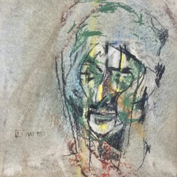 'Head of Dante' (1977). Crayon on Paper. 11.5cm x 10cm. POA