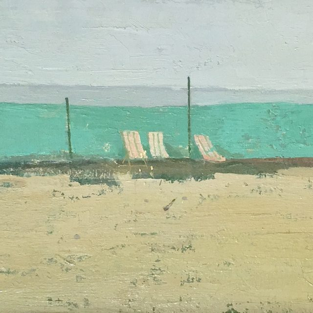 'Deckchairs and Windbreak'. 22cm x 61cm. Oil on Canvassed Board. POA