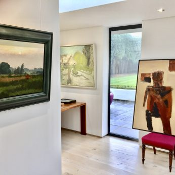 'Sunset in Suffolk' by Margaret Green and 'Figure II' (1962) by Alistair Park.