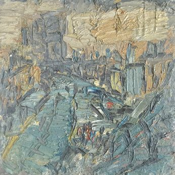 'City Landscape' (1972). Oil on Board. 46cm x 46cm. SOLD