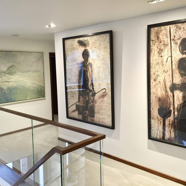 'Alchemist in Search of the Voice' (1992) & 'Sleeping Sentinel' (1992). Both by Tom Wood and both 122cm x 160cm linocuts. POA