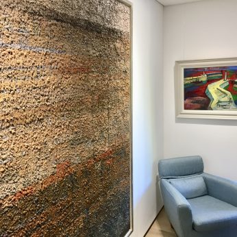 'Extensive View Across an Ancient City II' (2016) by Jake Attree & 'Harbour' by Jose Christopherson (SOLD).