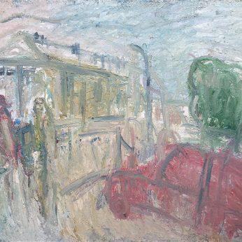 'Newlyn Art Gallery Terrace II' (1992). Oil on Canvas. 153cm x 184cm. POA