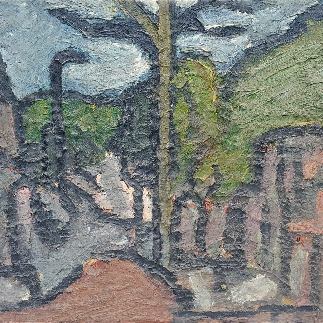 'South End Green' (1975). Oil on Board. 92cm x 122cm. SOLD