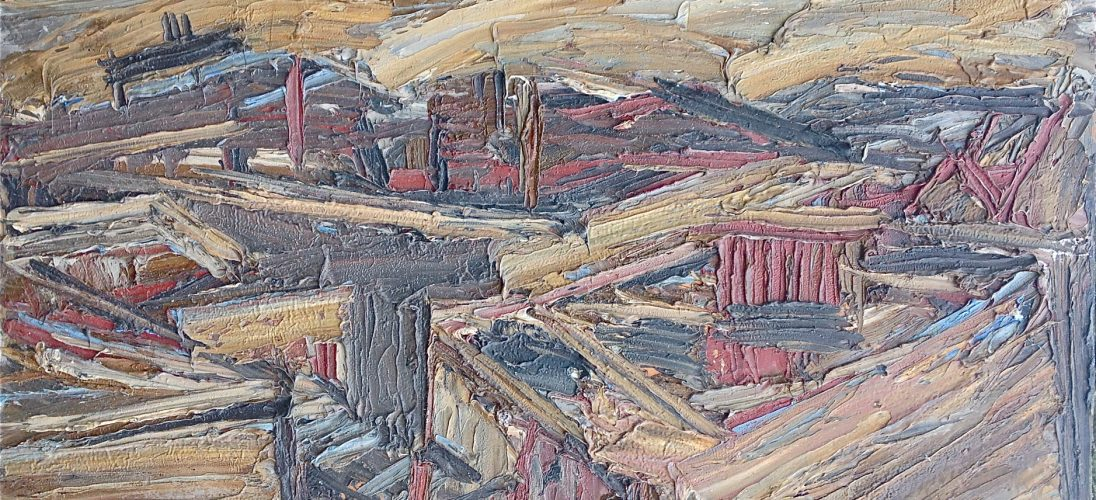 'Roof Tops from St. Martins' (1966). Oil on Board. 56cm x 106cm. POA