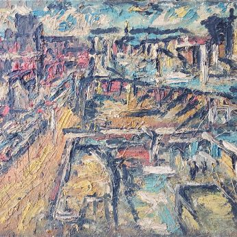 'Dalston Junction' (1973). Oil on Board. 60cm x 91cm. SOLD