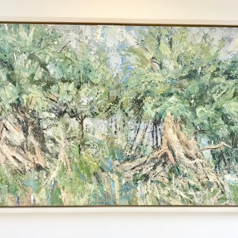 'Borrowdale Yews I' (2014). Oil on Board. 74cm x 122cm. POA