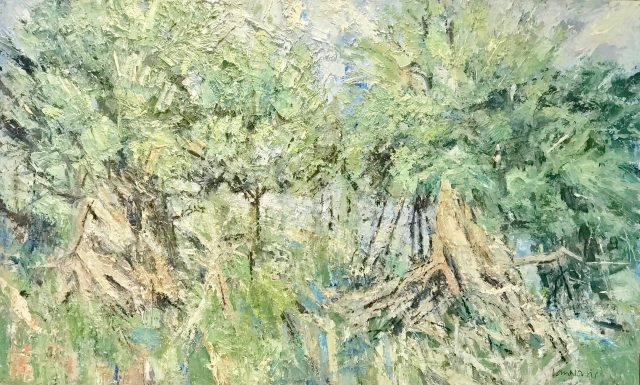 'Borrowdale Yews I' (2014). Oil on Board. 74cm x 122cm. POA