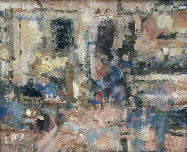 'Shopping Break - Brucciani's Cafe' (2016). Oil on Board. 25cm x 31cm behind non-reflective glass. SOLD