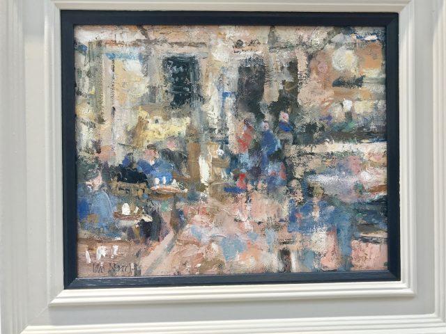 'Shopping Break - Brucciani's Cafe' (2016). Oil on Board. 25cm x 31cm behind non-reflective glass. POA