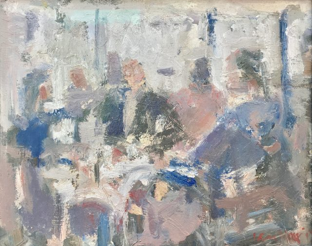 'Morning Papers - Brucciani's Cafe' (2016). Oil on Board. 25cm x 31cm behind non-reflective glass. POA