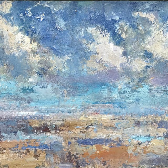 'Summer Clouds' (2016). Oil on Board. 25cm x 30cm behind non-reflective glass. POA.