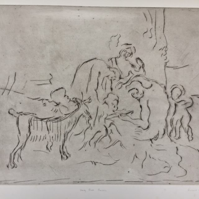 'Study from Poussin'. Drypoint Etching. Artist's Proof. 32cm x 40cm. Framed behind Clarity non-reflective glass. POA