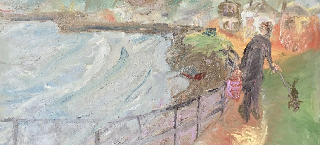 'Along the Seafront, Newlyn'. Oil on Board. 100cm x 126cm. POA