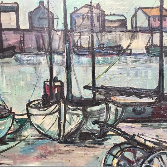 'Boatyard' (1958). Oil on Board. 44cm x 89cm. POA