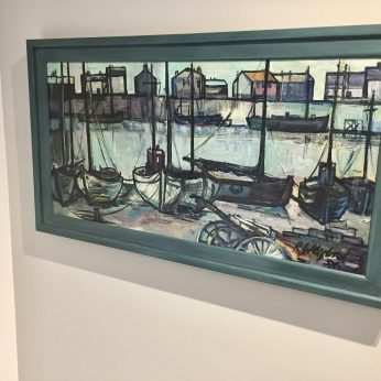 'Boatyard' (1958). Oil on Board. 44cm x 89cm. POA