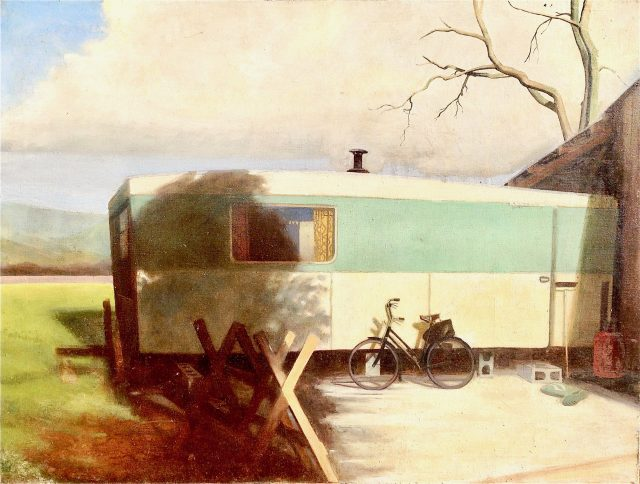 'Caravan at Slakes Farm'. (1972). Oil on Canvas. 76cm x 102cm. POA