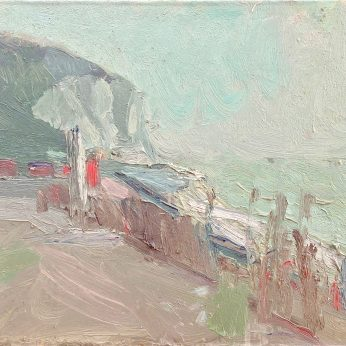 'Walking by the Cliff' (1986). Oil on Canvas. 35cm x 40cm. POA