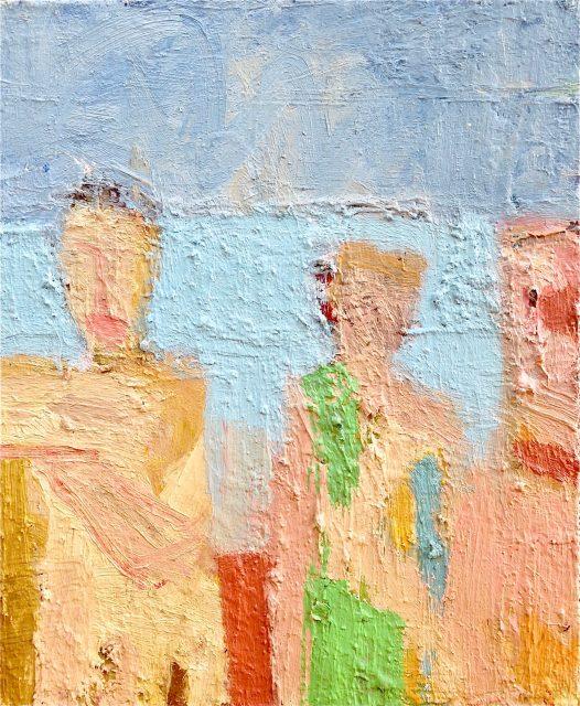 'Figures by the Sea II' (2015). Oil on Board. 31cm x 26cm. POA